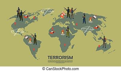 armado, terrorista, grupo, encima, mapa del mundo, terrorismo, concepto