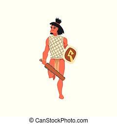 armado, tribal, macho, guerrero, tribu, miembro, en, ropa tradicional, con, arma, vector, ilustración, en, un, fondo blanco