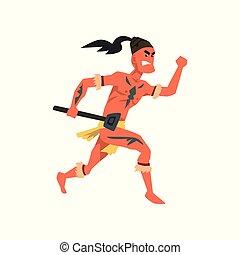 armado, tribal, macho, guerrero, tribu, miembro, en, ropa tradicional, vector, ilustración, en, un, fondo blanco