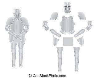 armadura, caballero, vector, desmontado, ilustración