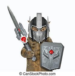 armadura, guerreiro 2, gato, espaço