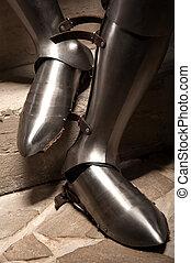 armadura, medieval, shoes
