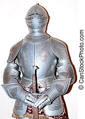armadura, metal, antigas, espada
