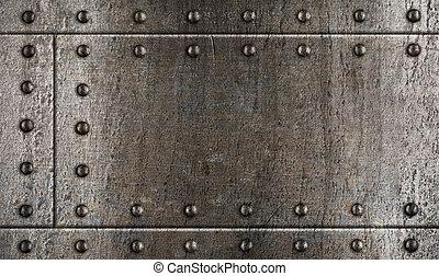 armadura, metal, fundo, com, rebites