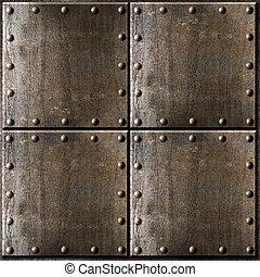 armadura, metal, oxidado, plano de fondo, remaches