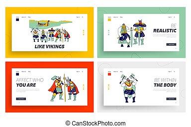 armadura, plantilla, vikings, flotar, macho, aterrizaje, llevando, vector, litoral, grajo, estante, caracteres, set., ilustración, gente, tenencia, página, pieles, cuernos, espadas, hachas, water., cascos, lineal