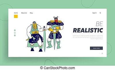 armadura, vikings, macho, aterrizaje, axes., escandinavo, llevando, vector, guerreros, caracteres, ilustración, gente, tenencia, template., página, pieles, cuernos, barbas, espadas, tressed, cascos, lineal