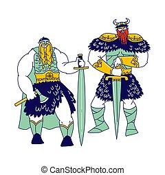armadura, vikings, warriors., macho, plano de fondo, aislado, escandinavo, llevando, vector, caracteres, ilustración, gente, tenencia, pieles, cuernos, barbas, blanco, espadas, hachas, tressed, cascos, lineal