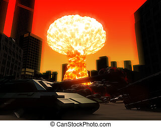armageddon - 3d rendered illustration of an atom explosion