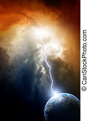 Armageddon background - planet Earth in space. Climate...