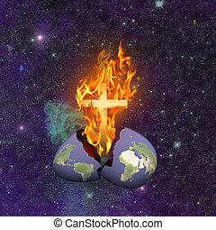 Armageddon Broken. Burning cross hatched from planet Earth