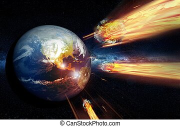 Armageddon - End of the World. Asteroids Heading and Hitting...