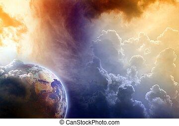 Armageddon, dramatic dark background - planet Earth disaster