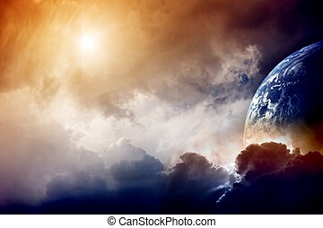 Armageddon - Dramatic dark background - planet Earth...