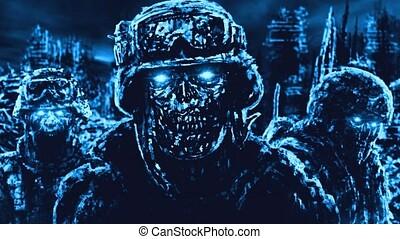 Armageddon warriors against backdrop of ruined city. Vj loop...