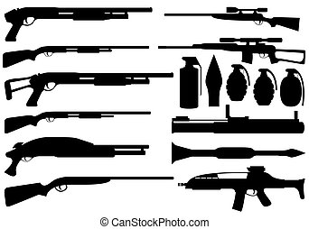 Armament - Set of army armament on white background