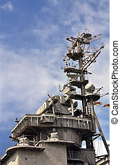 Armaments and antenna complex of the cruiser