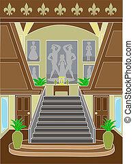 armando, upscale, escadaria, grandioso