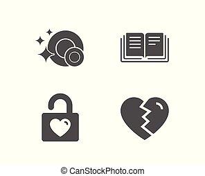 armario, boda, signo., icons., limpio, platos, interrupción, educación, arriba