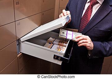 armario, en, un, bóveda de seguridad del banco