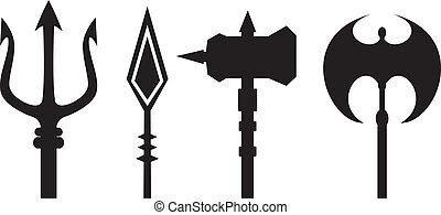 armas, antiguo, contorno, vector