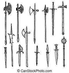 armas, arma, colección, medieval