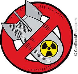 armas, bosquejo, anti-nuclear