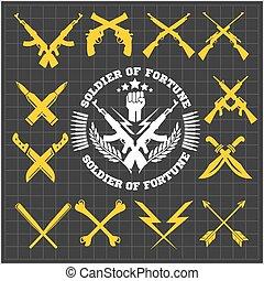 armas, colección, oscuridad, vector, cruzado, plano de fondo