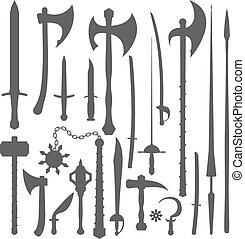 armas, conjunto, silueta, medieval