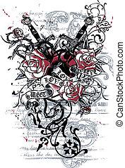 armas, corazón, tatuaje