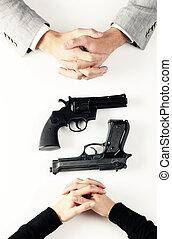 armas de fuego, mujer, cima, hombre, vista
