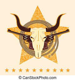 armas de fuego, símbolo, occidental, cráneo, toro
