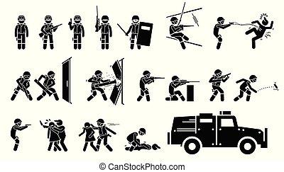 armas, golpe, táticas, especiais, icons.