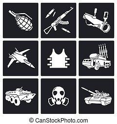 armas, icono, conjunto