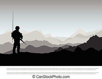armas, montanha, silueta, militar