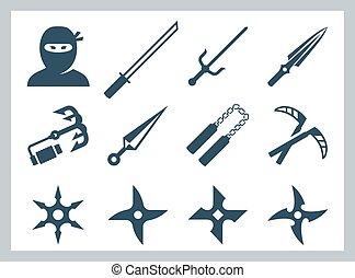 armas, ninja, conjunto, vector, icono