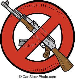 armas, proibição, assalto, esboço