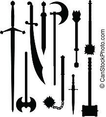 armas, silhuetas, antiguidade