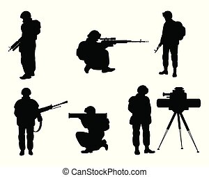 armas, soldados, silhuetas