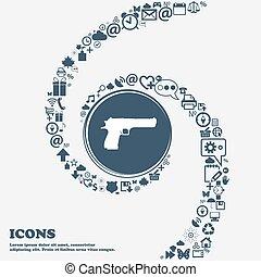 armata, ikona, znak, w, przedimek określony przed rzeczownikami, center., dookoła, przedimek określony przed rzeczownikami, dużo, piękny, symbolika, kręcił, w, niejaki, spiral., ty, może, korzystać, każdy, separately, dla, twój, design., wektor