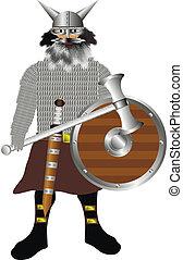 armatura, ascia, scudo, spada, vikings