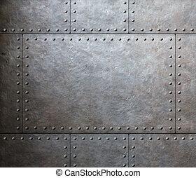 armatura, piastre, metallo, fondo