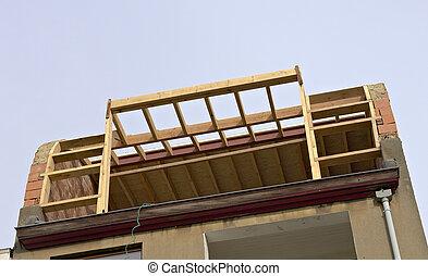 armature bois, construction, toit