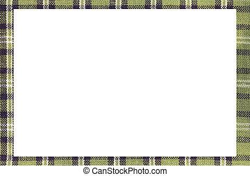 armature espace, m, écrire, vert, écossais, tartan, blanc, type