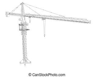 cadre fil grue tour armature fil rendre crane fond tour blanc 3d. Black Bedroom Furniture Sets. Home Design Ideas