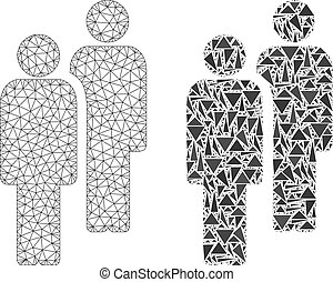 armature fil, hommes, polygonal, maille, mosaïque, icône