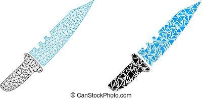 armature fil, polygonal, maille, couteau, mosaïque, icône