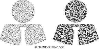 armature fil, polygonal, maille, monsieur, mosaïque, icône