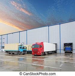 armazém, carga, caminhão, predios