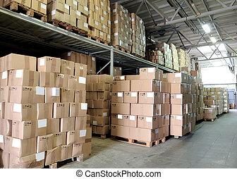 armazém, com, cardboxes